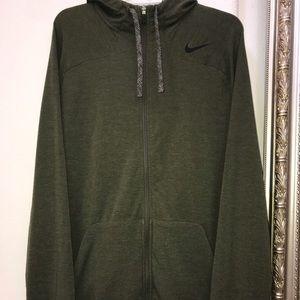 Nike olive green zip up hoodie